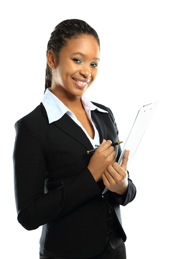 young american african business woman with clipboard